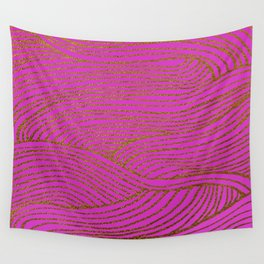 Wind Hot Pink Gold Wall Tapestry