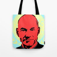 picard Tote Bags featuring Captain Jean Luc Picard by Chadventure