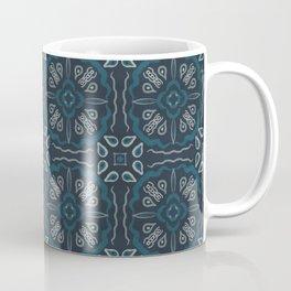 Eclectic Geometric Tile Art Pattern - Dark Blue Teal Coffee Mug