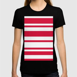 Mixed Horizontal Stripes - White and Crimson Red T-shirt