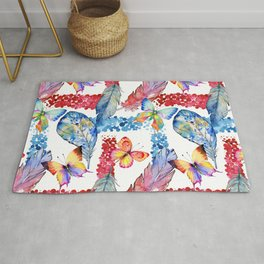 Abstract pink blue watercolor butterfly boho floral pattern Rug