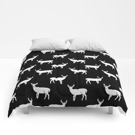 Buck deer antlers pattern minimal black and white linocut printmaking art Comforters