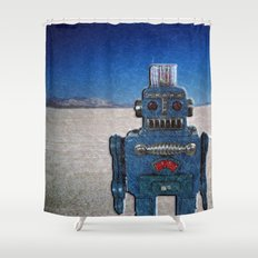 Blue Robot Shower Curtain