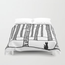 Cat Waits Duvet Cover