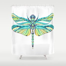 Colorful patterned dragonfly illustration Shower Curtain