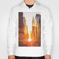 skyline Hoodies featuring NYC Skyline Sunset by Vivienne Gucwa