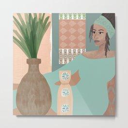Woman in Mint Metal Print