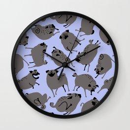 Peppy Black Pugs Pattern - purple Wall Clock