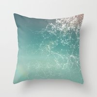 physics Throw Pillows featuring Fresh summer abstract background. Connecting dots, lens flare by AMULET