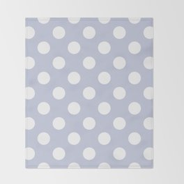 Light periwinkle - grey - White Polka Dots - Pois Pattern Throw Blanket