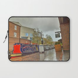 Canal Boat at the Waters Edge  Brindley Place Laptop Sleeve