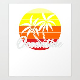 Retro SUrfer Vintage Oceanside CA Gift Art Print