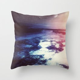 Blue Purple Planet // Violet Star Field // Surreal Space Painting Throw Pillow