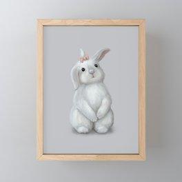 White Rabbit Girl Framed Mini Art Print