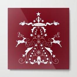 Retro damask christmas tree with text and reindeer Metal Print