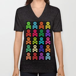 Colorful Pirate Skulls Unisex V-Neck