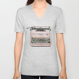 Simple Modern Retro Pop Art Pink Typewriter Print Unisex V-Neck