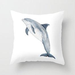 Bottlenose dolphin jump Throw Pillow
