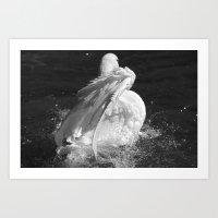 black swan Art Prints featuring Swan by Nonna Originals