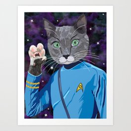 Mr. Spock Kitty - Live long and prospurr! Art Print