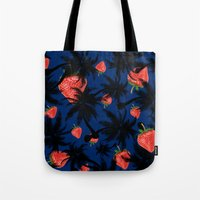 strawberry Tote Bags featuring strawberry  by mark ashkenazi