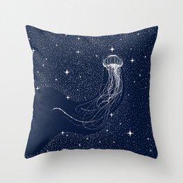 starry jellyfish Throw Pillow