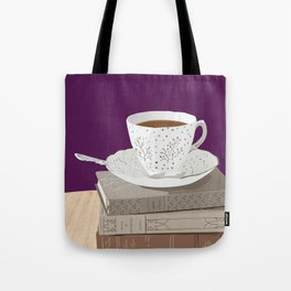Teacup, Jane Austen, & Charlotte Brontë Books Tote Bag