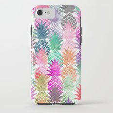 Bright exotic pineapples pastel watercolor pattern Tough Case iPhone 7