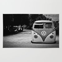 vw bus Area & Throw Rugs featuring VW bus portrait  by Aaron Joslin Photography