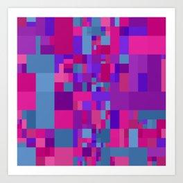 violet pink and blue mosaic art Art Print
