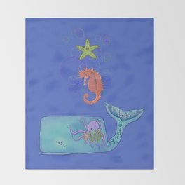 Colorful Sea Family  Throw Blanket