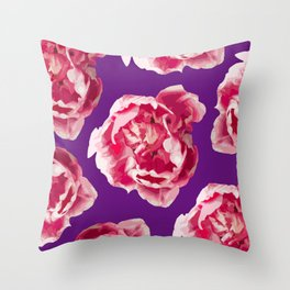 Pink Tulips On A Violet Background #decor #society6 #homedecor #buyart Throw Pillow