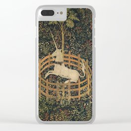 Vintage Fenced in Unicorn Painting (1505) Clear iPhone Case
