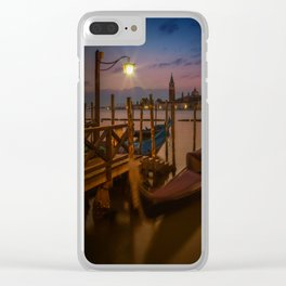 VENICE Gondolas during Blue Hour Clear iPhone Case