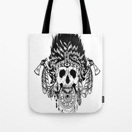 Indian chief , skull art , custom gift design Tote Bag