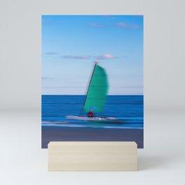 Sailboat Speeding Past Mini Art Print