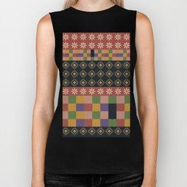 flowers and squares ethnic patchwork Biker Tank