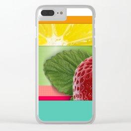 Bright Multicolor Stripes & Fruit Lemon Strawberry Clear iPhone Case