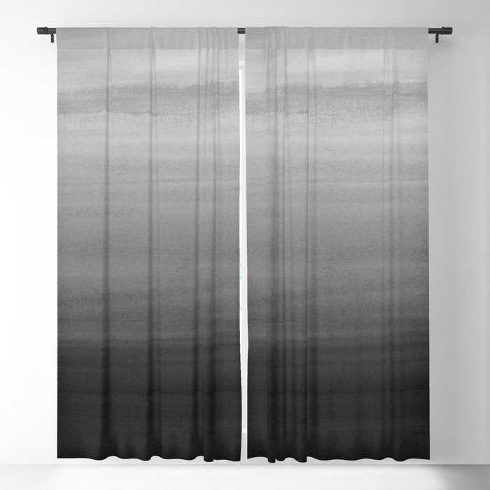 Touching Black Gray White Watercolor Abstract #1 #painting #decor #art #society6 Blackout Curtain
