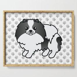 Black Parti-Color Pomeranian Dog Cute Cartoon Illustration Serving Tray