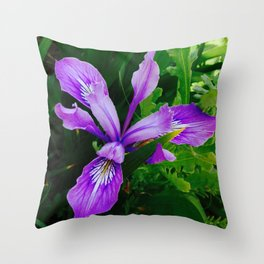 Wild Purple Iris Throw Pillow