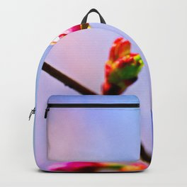 Pink Sakura Bud In Spring. Blue And Pink Background. The whole life ahead Backpack