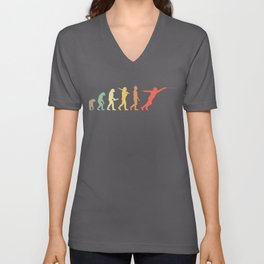 Retro Fencing Evolution Gift For Fencers Unisex V-Neck