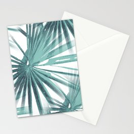 Teal Aqua Tropical Beach Palm Fan Vector Stationery Cards
