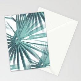 Teal Aqua Tropical Beach Palm Fan Vector Stationery Cards