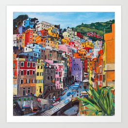 Cinque Terre, Italy - hillside with colourful houses and harbour  Art Print