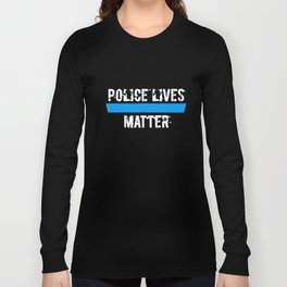 Police Lives Matter Blue Metallic Graphic Police T-Shirts Long Sleeve T-shirt