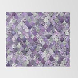 Mermaid Purple and Silver Throw Blanket