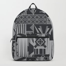 Retro Art Deco Geometry Black White Backpack