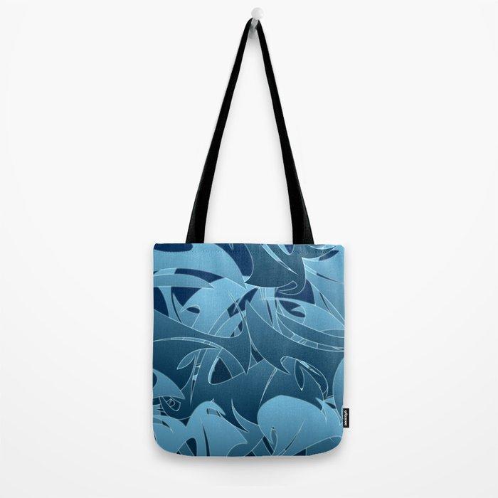 Blue Abstract Mayhem Tote Bag